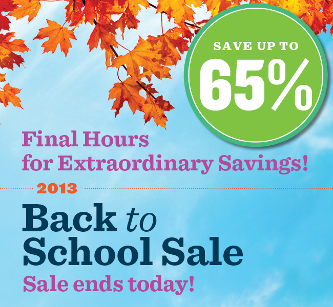 2013 Back to School Sale